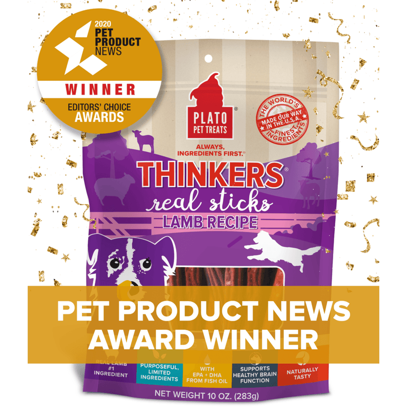 Plato Pet Treats Thinkers Lamb Meat Stick Dog Treats  Dog Treats - PetMax