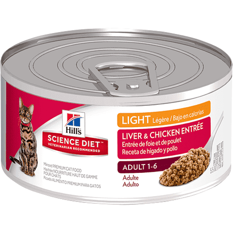 Science Diet Canned Cat Food Adult Light Liver & Chicken, Canned Cat Food, Hills Pet Nutrition Canada Inc. - PetMax Canada