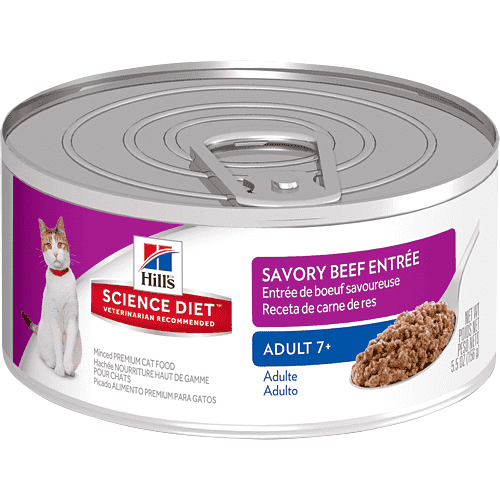 Hill's Science Diet Adult 7+ Savory Beef Canned Cat Food  Canned Cat Food - PetMax