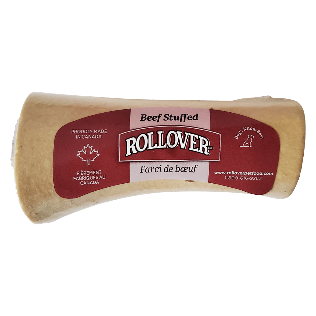 Rollover Stuffed Dog Bone Beef Small Chew Products - PetMax