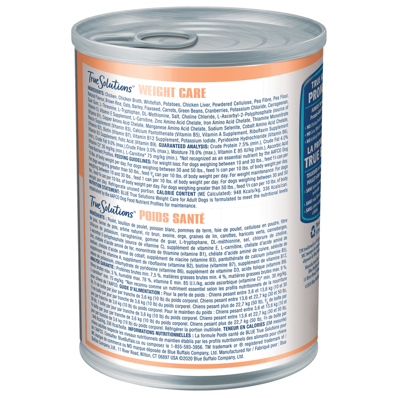 Blue True Solutions Canned Dog Food Weight Care [variant_title] [option1] | Canned Dog Food Blue Buffalo -  PetMax.ca