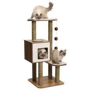 Vesper Cat Furniture V-High Base Walnut  Cat Scratching Posts - PetMax
