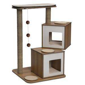 Vesper Cat Furniture V-Double Walnut, Cat Scratching Posts, Rolf C Hagen Inc. - PetMax Canada