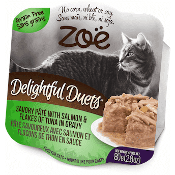 Zoe Delightful Duets Salmon Flakes With Tuna Gravy, Canned Cat Food, Zoe Pet Food - PetMax Canada