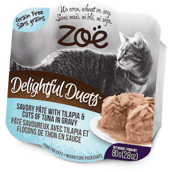 Zoe Delightful Duets Tilapia Cuts With Tuna Gravy, Canned Cat Food, Zoe Pet Food - PetMax Canada