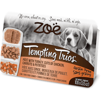 Zoe Tempting Trios Turkey, Chicken, Carrots, & Potato, Canned Dog Food, Zoe Pet Food - PetMax Canada