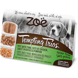 Zoe Tempting Trios Tuna, Chicken, Sweet Potato, & Pumpkin, Canned Dog Food, Zoe Pet Food - PetMax Canada