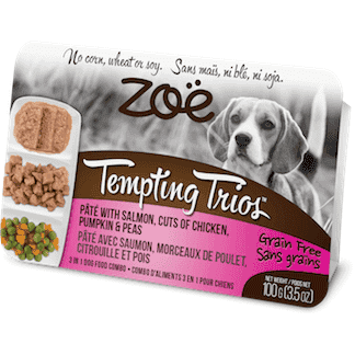 Zoe Tempting Trios Salmon, Chicken, Pumpkin, & Peas, Canned Dog Food, Zoe Pet Food - PetMax Canada