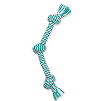 Mammoth Fresh Mint Triple Knot Rope Bone Small - 15 inches Dog Toys - PetMax