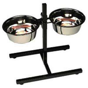 Stainless Steel Adjustable Double Diner  Dog Dishes - PetMax