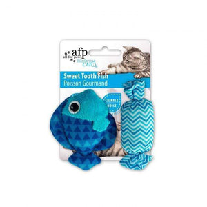 All For Paws Cat Toy Sweet Tooth Fish Blue Cat Toys - PetMax