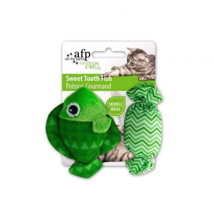 All For Paws Cat Toy Sweet Tooth Fish Green Cat Toys - PetMax
