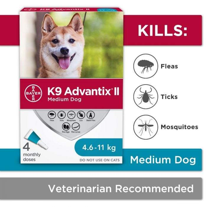 K9 Advantix II Medium Dogs 4.6Kg - 11Kg / 4 Pack Dog Flea & Tick - PetMax