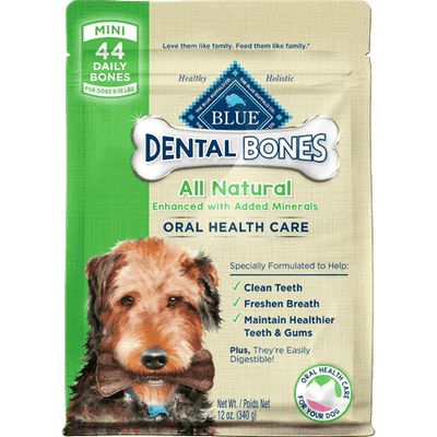 Blue Bones Mini Dental Chews, Dog Treats, Blue Buffalo Company - PetMax Canada