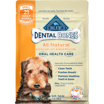 Blue Bones Small Dental Chews, Dog Treats, Blue Buffalo Company - PetMax Canada