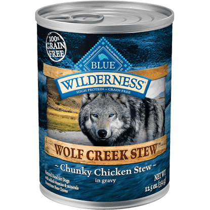 Blue Wilderness Wolf Creek Chunky Chicken Stew, Canned Dog Food, Blue Buffalo Company - PetMax