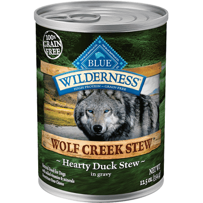 Blue Wilderness Wolf Creek Hearty Duck Stew, Canned Dog Food, Blue Buffalo Company - PetMax Canada