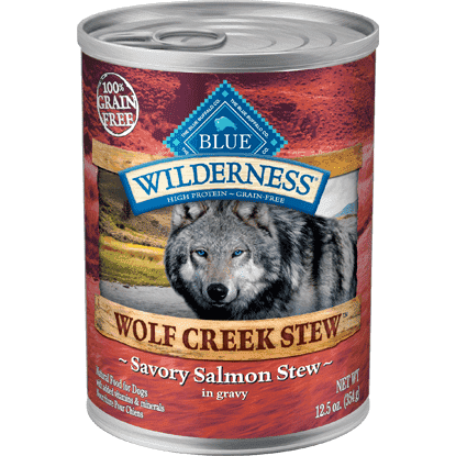Blue Wilderness Wolf Creek Savory Salmon Stew, Canned Dog Food, Blue Buffalo Company - PetMax