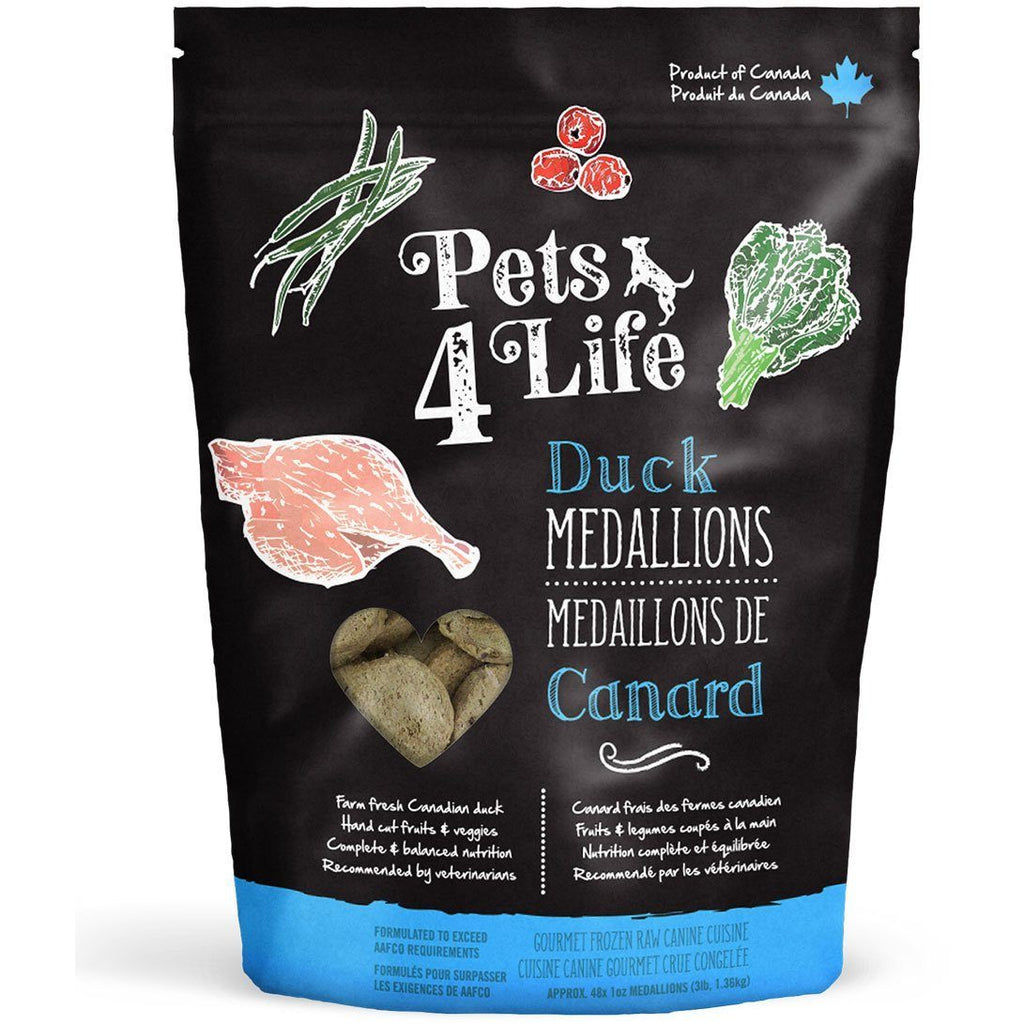 Pets 4 Life Raw Dog Food Duck Medallions | Raw Dog Food -  pet-max.myshopify.com