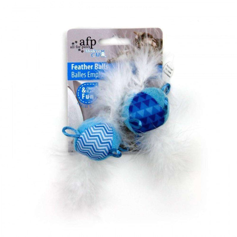 All For Paws Cat Toy Feather Balls With Sound Blue Cat Toys - PetMax