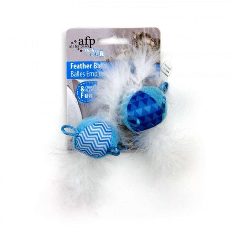 All For Paws Cat Toy Feather Balls With Sound, Cat Toys, All for Paws - PetMax Canada