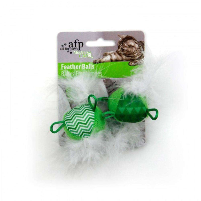 All For Paws Cat Toy Feather Balls With Sound Green Cat Toys - PetMax