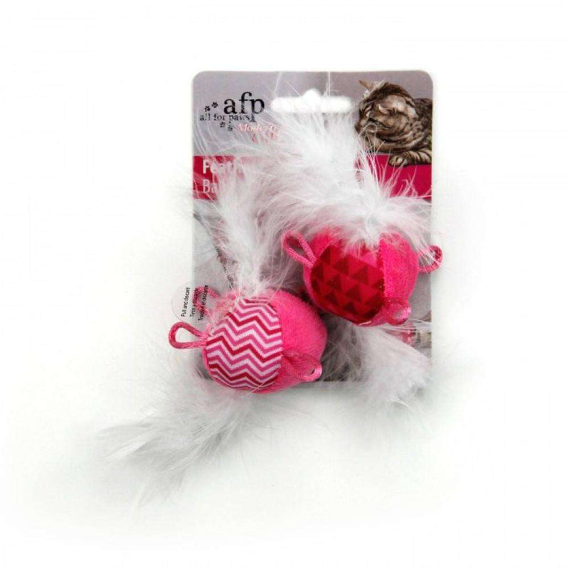 All For Paws Cat Toy Feather Balls With Sound Pink Cat Toys - PetMax