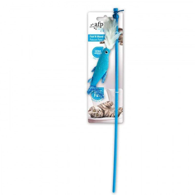All For Paws Cat Toy Fish 'N Wand Blue Cat Toys - PetMax