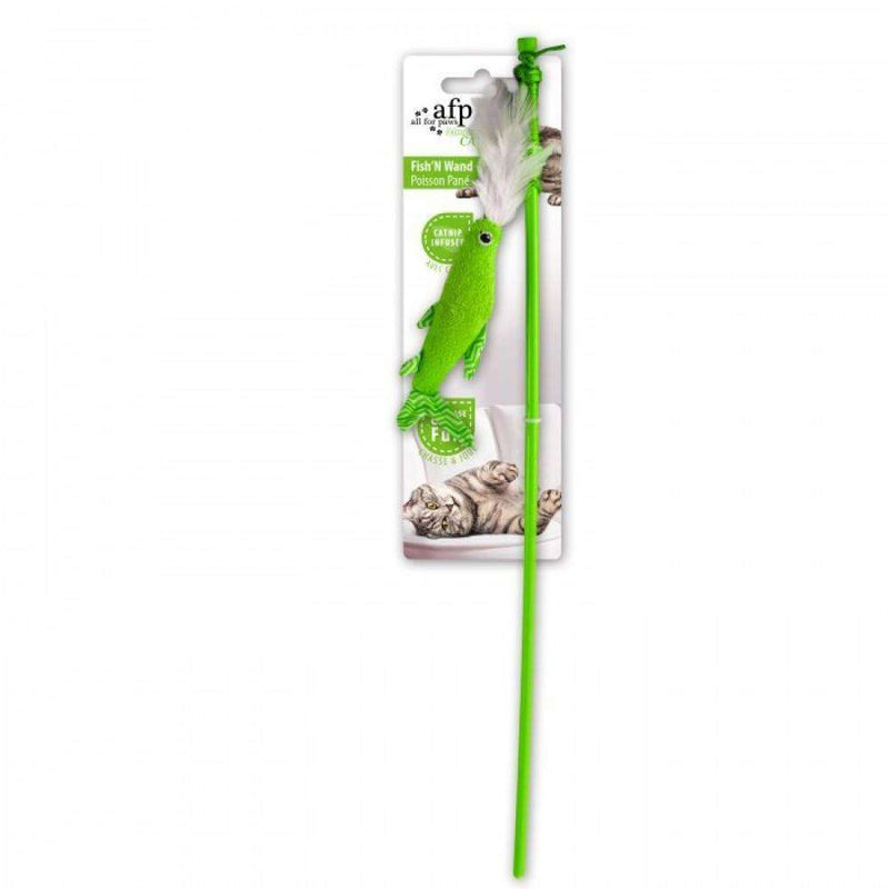 All For Paws Cat Toy Fish 'N Wand Cat Toys Green Green - PetMax.ca