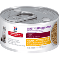 Science Diet Cat Can Sensitive Stomach & Skin Chicken & Vegetable - Case of 24 Canned Cat Food [variant_title] [option1] - PetMax.ca