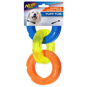 Nerf Dog Toy TPR 3-Ring Tug Small Breed/Puppy  Dog Toys - PetMax