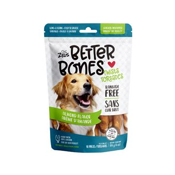 Zeus Better Bones Chicken Wrapped Twists Almond | Dog Treats -  pet-max.myshopify.com