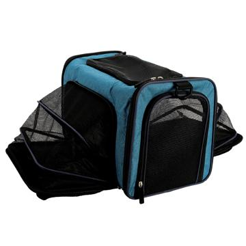 DogIt Explorer Soft Expandable Bag Black & Navy Cages And Kennels [variant_title] [option1] - PetMax.ca