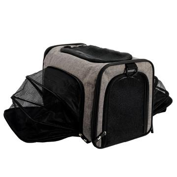 DogIt Explorer Soft Expandable Bag Grey & Black Cages And Kennels [variant_title] [option1] - PetMax.ca