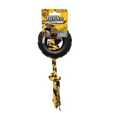 Tonka Dog Toy Tire With Rope Tug  Dog Toys - PetMax