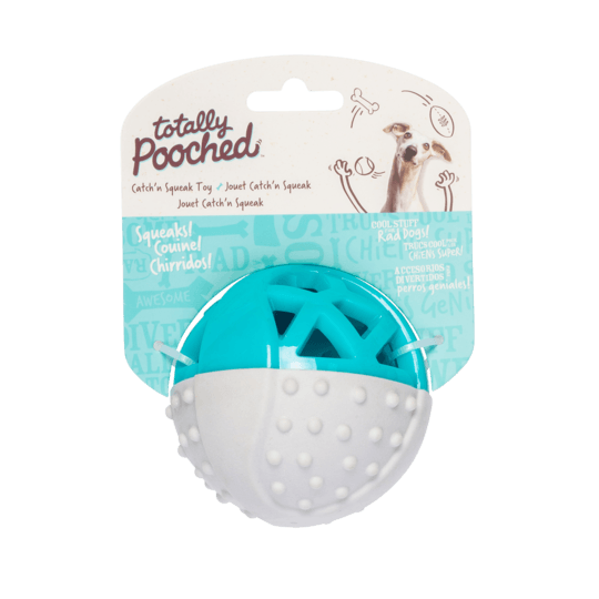 Totally Pouched Catch N Squeak Rubber Ball Teal  Dog Toys - PetMax
