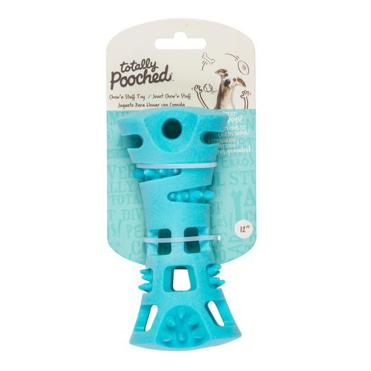 Totally Pouched Chew N Stuff Rubber Toy Teal  Dog Toys - PetMax