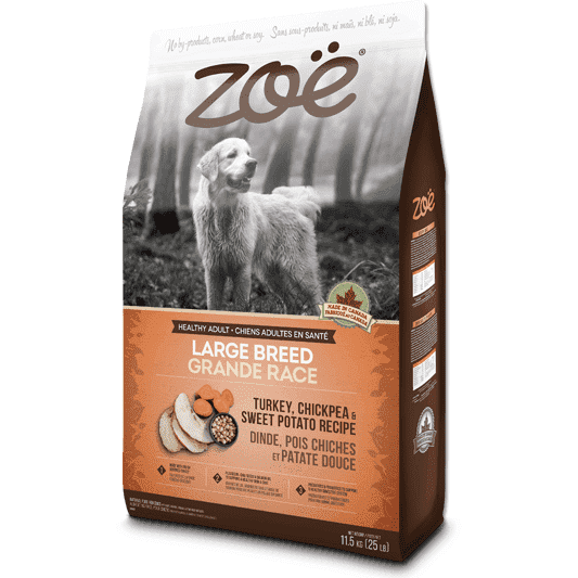 Zoe Dog Adult Large Breed Turkey, Chickpea, Potato, Dog Food, Rolf C Hagen Inc. - PetMax Canada