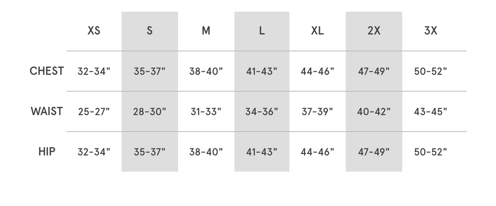 Sizing Chart for Coalition Snow Crewnecks