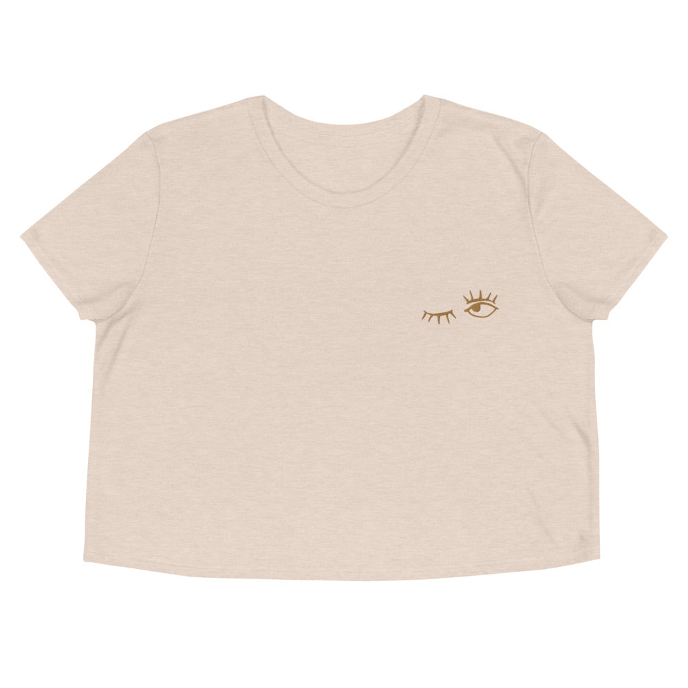 Wink | Embroidered Crop Tee