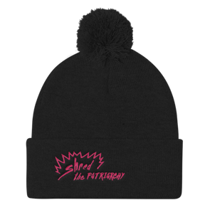Shred The Patriarchy | Pom Pom Black Beanie