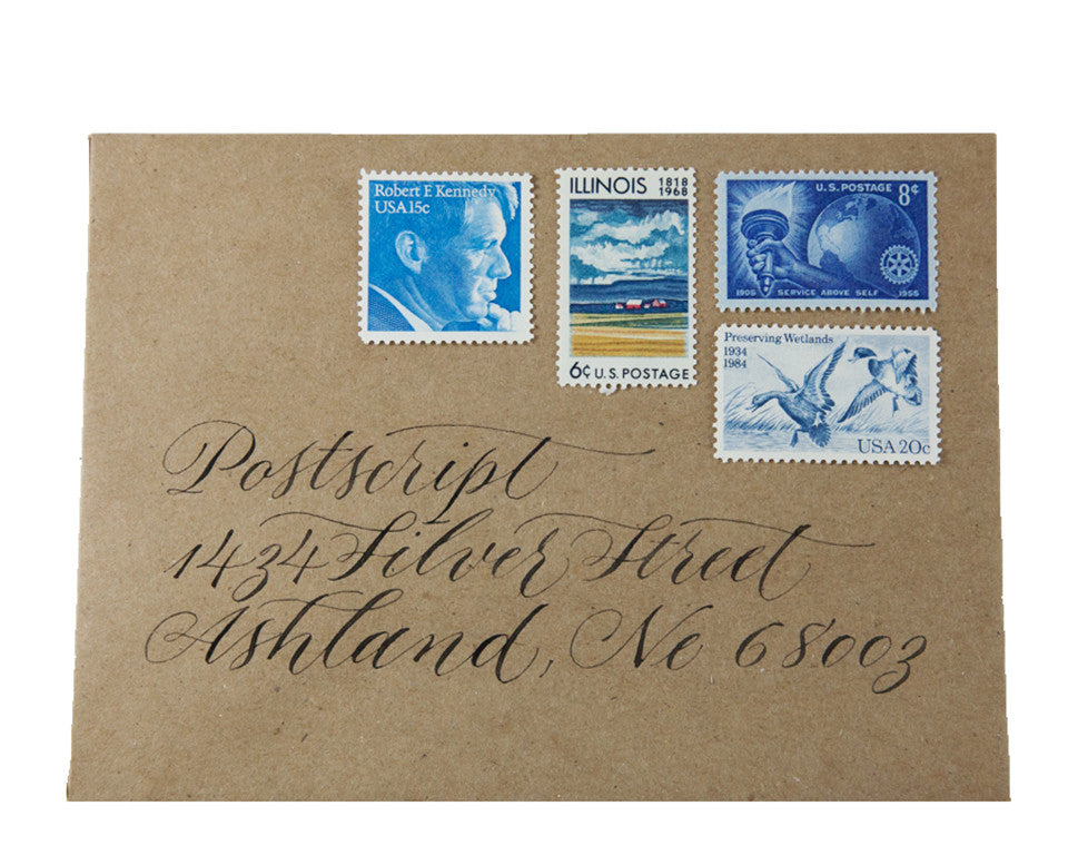Custom Envelope with Vintage Stamps