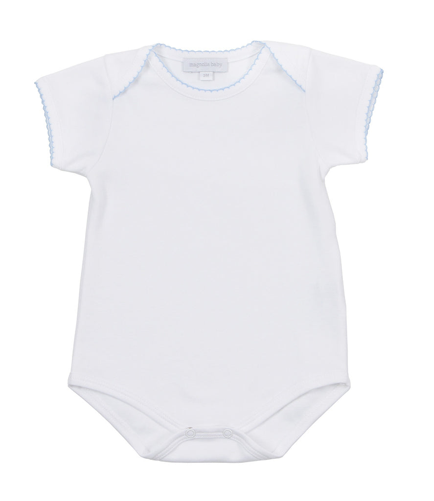 Essentials Solid White Bodysuit with Blue Trim