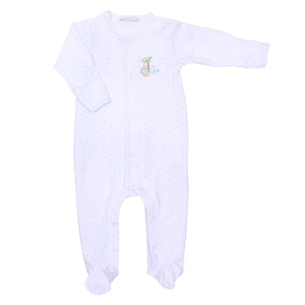 Safari Pals Blue Embroidered Footie