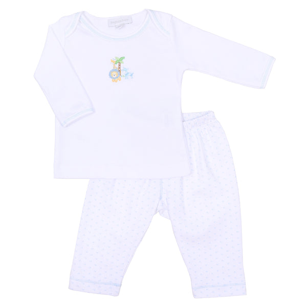 Safari Pals Blue Embroidered Pant Set