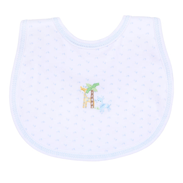 Safari Pals Blue Embroidered Bib