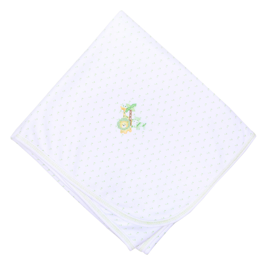 Safari Pals Celery  Embroidered Receiving Blanket
