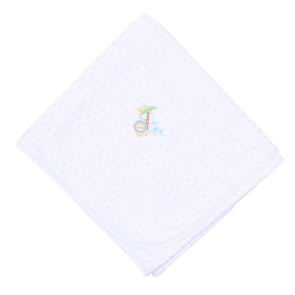 Safari Pals Blue Embroidered Receiving Blanket