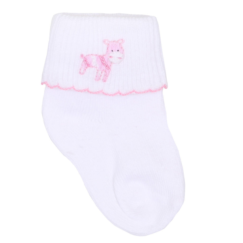 Safari Pals Pink Embroidered Socks