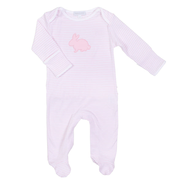 Pink Sweet Bunny Applique Ruffle Footie